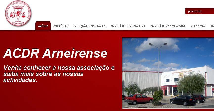 Homepage do site Arneirense